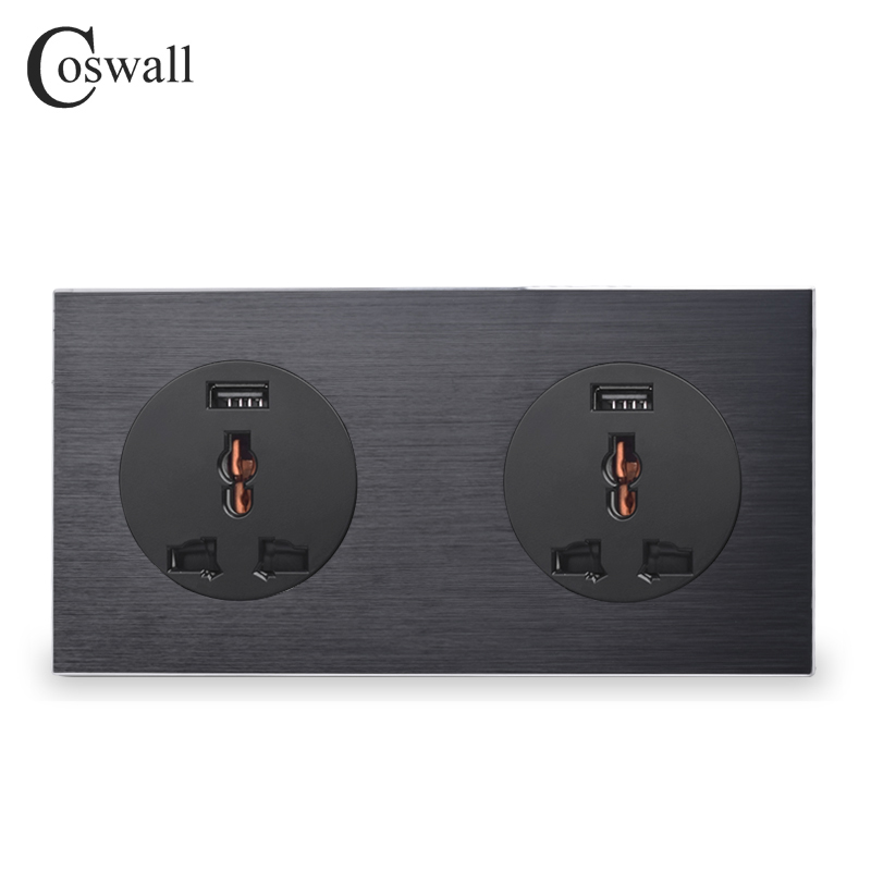 Coswall Aluminum Panel Double 13A Wall Outlet Universal Power Socket With Dual USB Fast Charging Port 171mm*86mm R12 SeriesCoswall Aluminum Panel Double 13A Wall Outlet Universal Power Socket With Dual USB Fast Charging Port 171mm*86mm R12 Series