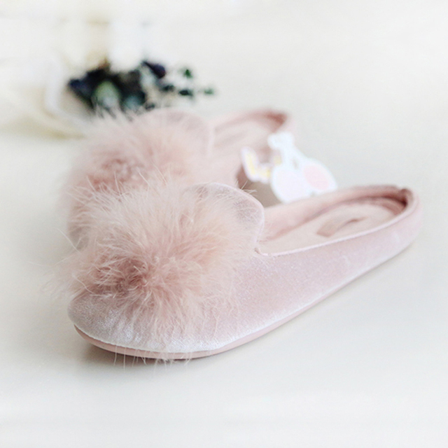 HALLUCI Ice Cotton velvet shoes woman slippers Home indoor Slippers slides pantufa rubber shoes home slippers fur flip flops