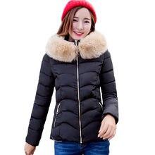 Мода Женщина Зима Большой Меховой Воротник Вниз Хлопка Куртка Solid цвет Тонкий Короткие Пальто на Вате С Капюшоном Проложенный Утолщаются Парка Пальто SS634