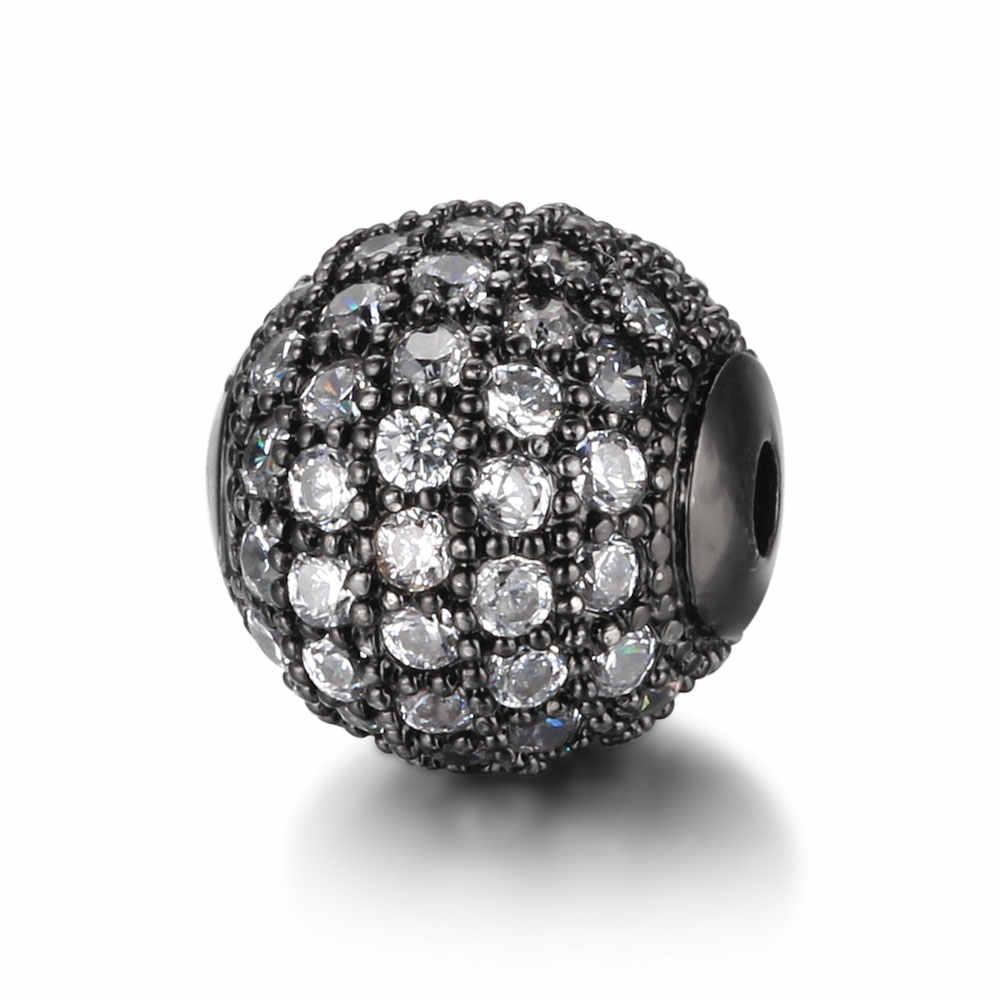 8mm/10mm הטוב ביותר באיכות פליז micro pave cz Zirconia עגול Spacer חרוזים DIY ממצאי תכשיטי משלוח Dropshipping מחבר