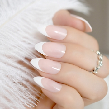 24pcs Simple Pointed French Nail Tips Natural Pink Medium Stiletto Acrylic Fake Nails Women Wear Manicure Accessories Z872 Маникюр
