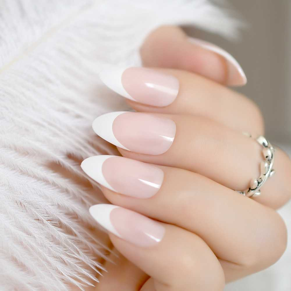 24pcs Simple Pointed French Nail Tips Natural Pink Medium Stiletto Acrylic  Fake Nails Women Wear Manicure Accessories Z872