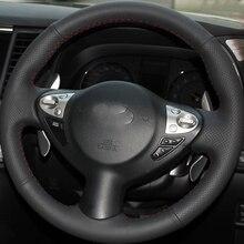 цена Free Shipping High Quality cowhide Top Layer Leather handmade Sewing Steering wheel covers protect For Nissan Juke/Maxima в интернет-магазинах