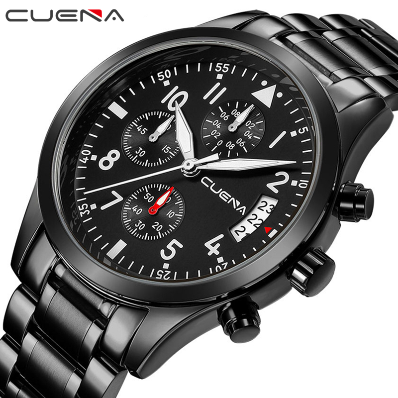CUENA Men Quartz Watch Mens Watches Top Brand Luxury Stainless Steel Waterproof Wristwatches Fashion Relojes Relogio Masculino men fashion quartz watch mans full steel sports watches top brand luxury cuena relogio masculino wristwatches 6801g clock