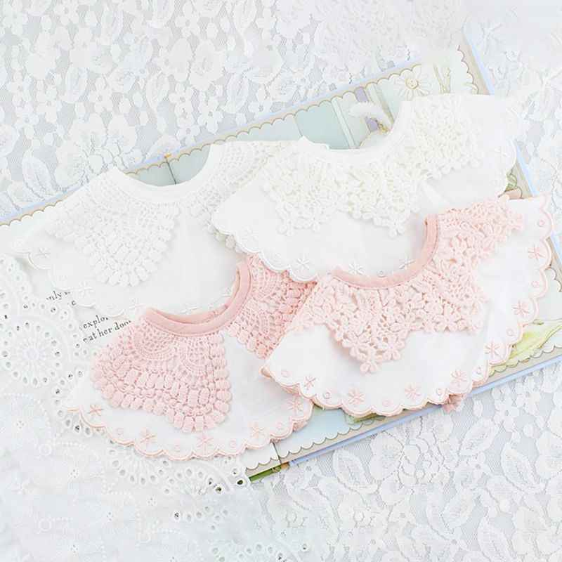 Yếm Bé Gái Phối Ren Trang Trí Hoa Nước Miếng Khăn Ăn Yếm Dây Vòng Tròn Đầy Mềm Mại Phối Cotton Thoải Mái Di Động