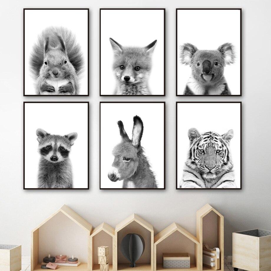 Черно-белая Настенная картина из енота, лисы, коала, белки, скандинавские постеры и принты, настенные картины, декор для детской комнаты