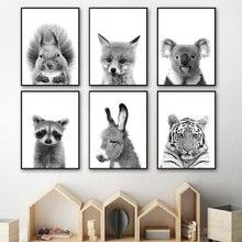 купить!  Черный Белый Енот Лиса Коала Белка Wall Art Print Холст Картины Северные Плакаты И Отпечатки  Лучший!