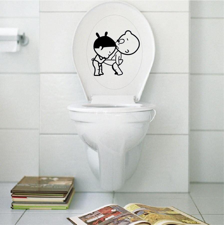 Lovely boy and girl toilet sticker bathroom wallpaper for Diy toilet decor