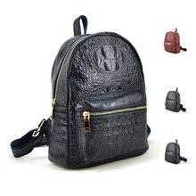 Новый Мода 2016 года Для женщин рюкзак Crodile аллигатора 100% Натуральная телячья Кожа Путешествия Ежедневно Школьные сумки Повседневное портмоне