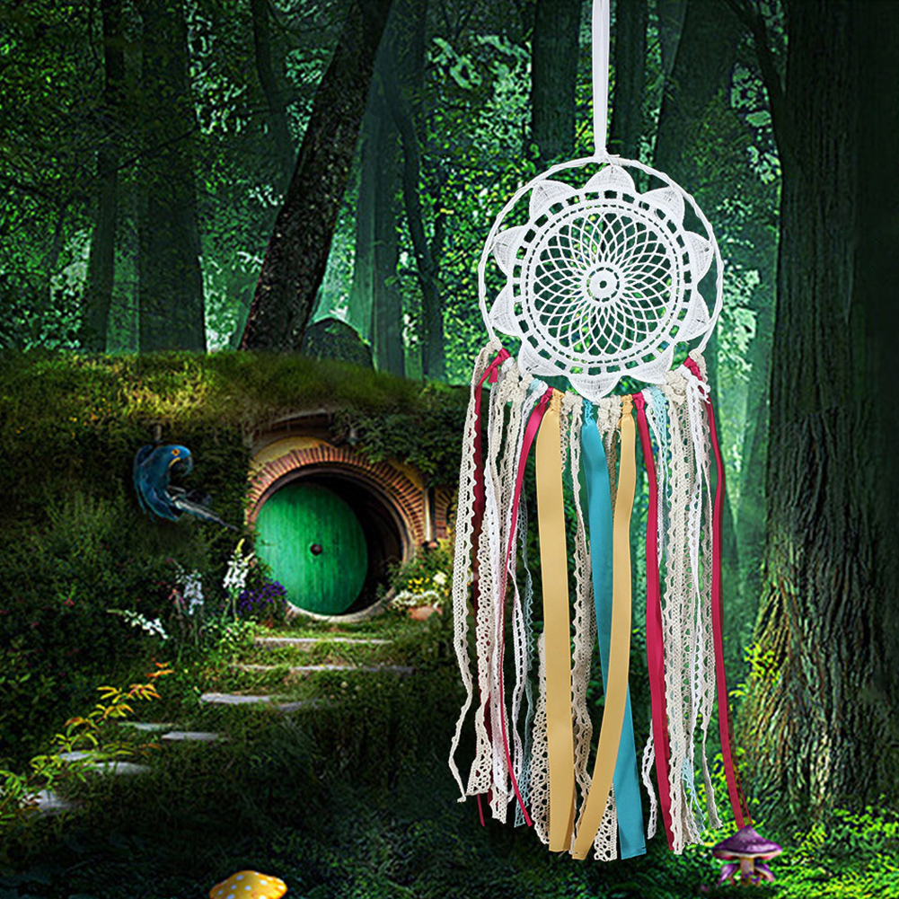 Handmade Dream Catcher Net with Colorful Ribbon Lace Flower Dreamcatcher Home Car Wall Hanging Decor Craft