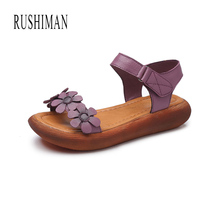 RUSHIMAN 2018 Summer New Original Vintage Real Leather Sandals With Peep-Toe Magic Eur Size 35-40
