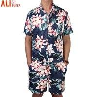 Floral Print Men S Rompers Short Sleeve Jumpsuit Romper Playsuit Beach Overalls One Piece Slim Fit