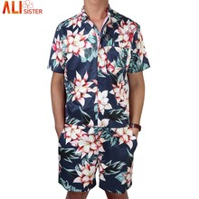 81f3db8ab142 Floral Print Men s Rompers Short Sleeve Jumpsuit Romper Playsuit Beach Overalls  One Piece Slim Fit Alisister Brand Clothing