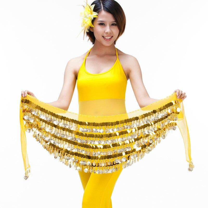 Блестящая золотая монета хип шарф танец живота Интимные аксессуары для продажи Для женщин красивый танец живота ремень придерживаюсь Одеж...