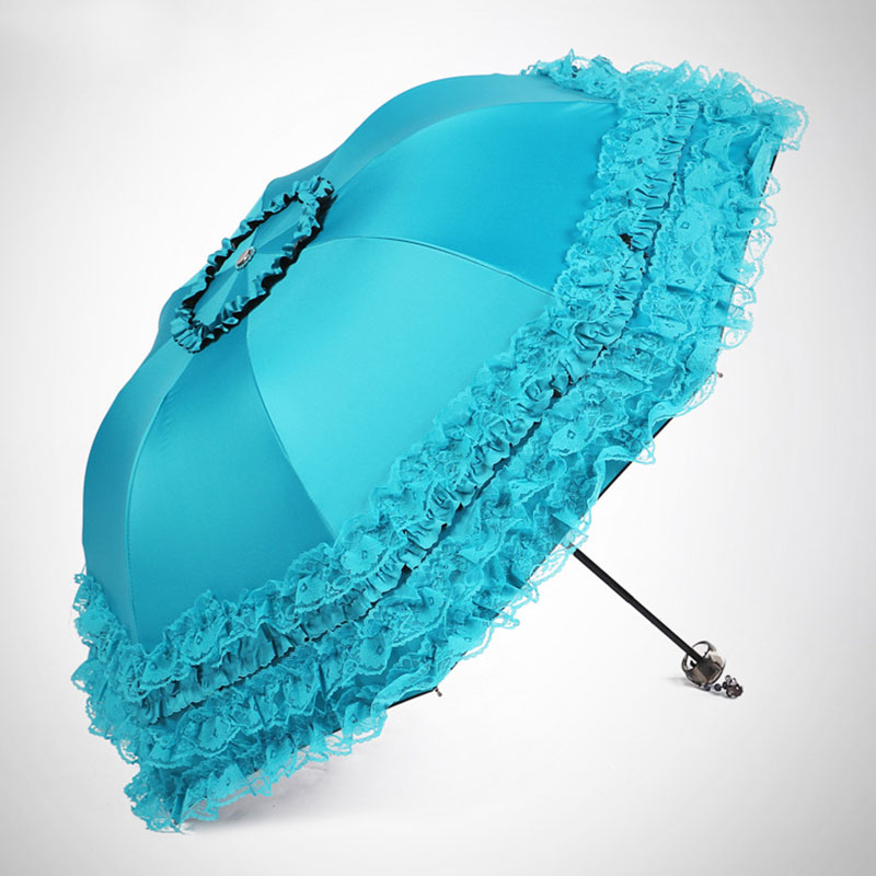 classic 03f54 e8daf Lace Sunny And Rainy Umbrellas Sweet Princess Automatic Umbrella Windproof  UV Protection Three Folding Durable Regenschirm