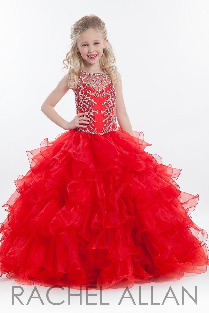 الأحمر زهرة الفتيات اللباس 2016 الأميرة الكرة بثوب شير الطابق طول تول اورجانزا كريستال الديكور بنات موسيقية بالتواصل اللباس c231