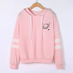 Hoodies Women Sweatshirt Casual Planet Print Striped Long Sleeve Hoody Shirt Blouse Jumper Tops For Female 0912 5