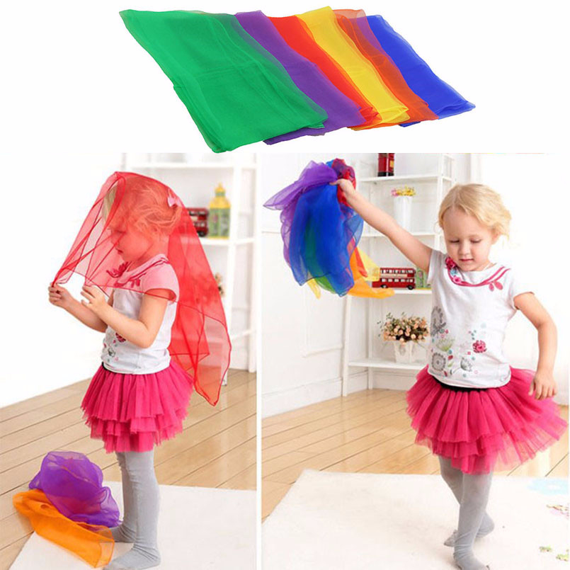 5pcs Colorful Colorful Children Gymnastics Square Scarf Outdoor Game Toy Sports Dance Interactive Handkerchief Educational Toy