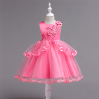 Girls Dress Princess Party Clothes Wedding Dance Dresses Baby Ball Gown Pink Applique Christmas Costumes Girls Clothes 2 7years