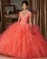 Loverxu Elegante V Neck Coral Ball Vestido Ruffles Vestidos Quinceanera 2016 Apliques Frisada Debutante Vestido Plus Size Doce 16 Vestido