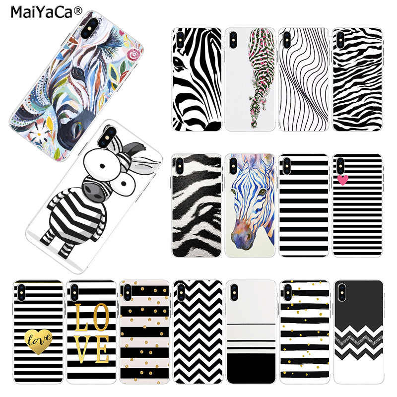 MaiYaCa TPU silicone Novelty Fundas Phone Cover Animal Black white Zebra Stripe for iphone 11 pro 8 7 66S Plus X 5S SE XSmax XR