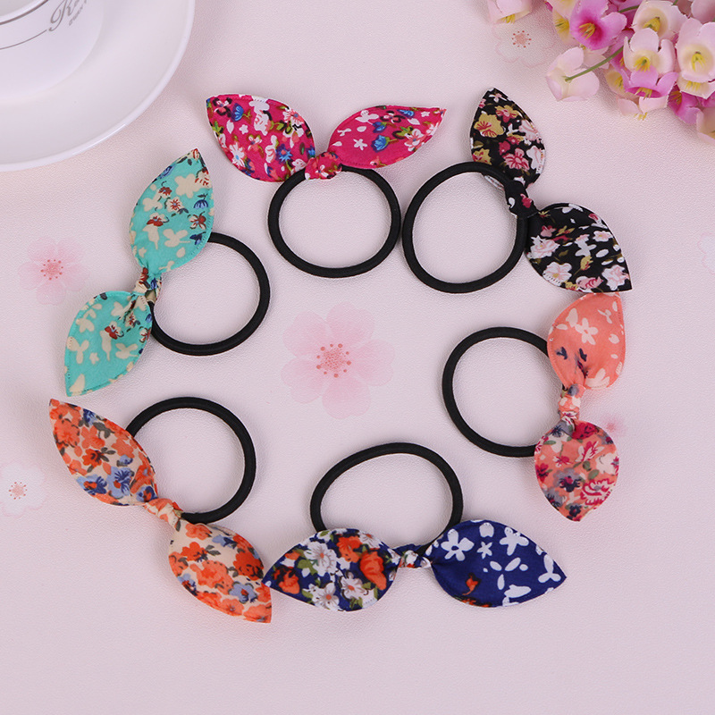 1PCS Small floral Rabbit Ears Hair Ring   Headwear  , Child Towel Ring Rabbit Ears Hair Ring, Best DIY Gift For Kids And Girls