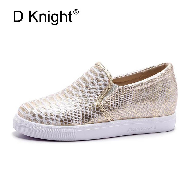 New Women Casual Wedges Shoes Fashion Crocodile Round Toe Slip-on Women Sneakers Ladies Height Increasing Shoes Woman Size 34-43 women sandals 2017 summer style shoes woman wedges height increasing fashion gladiator platform female ladies shoes casual