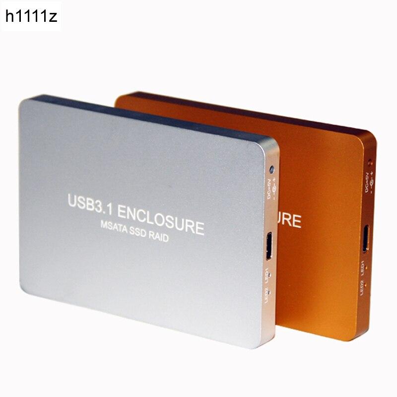 USB-C USB3.1 TYPE-C à 2 Ports SSD MSATA Raid 0 1 PM Hdd Adaptateur 3030 3050 Disque Dur Boîte externe Boîte 800 mb
