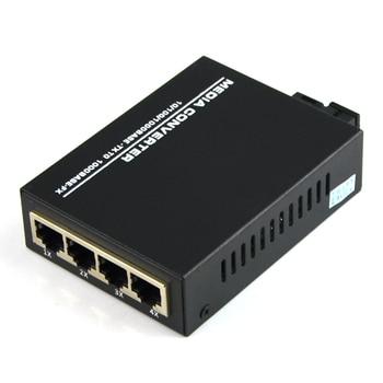 10/100/1000Mbps Gigabit Ethernet Media Converter Single Mode Optic Fiber 4 RJ45 Port and 1 SC Port-1 pair
