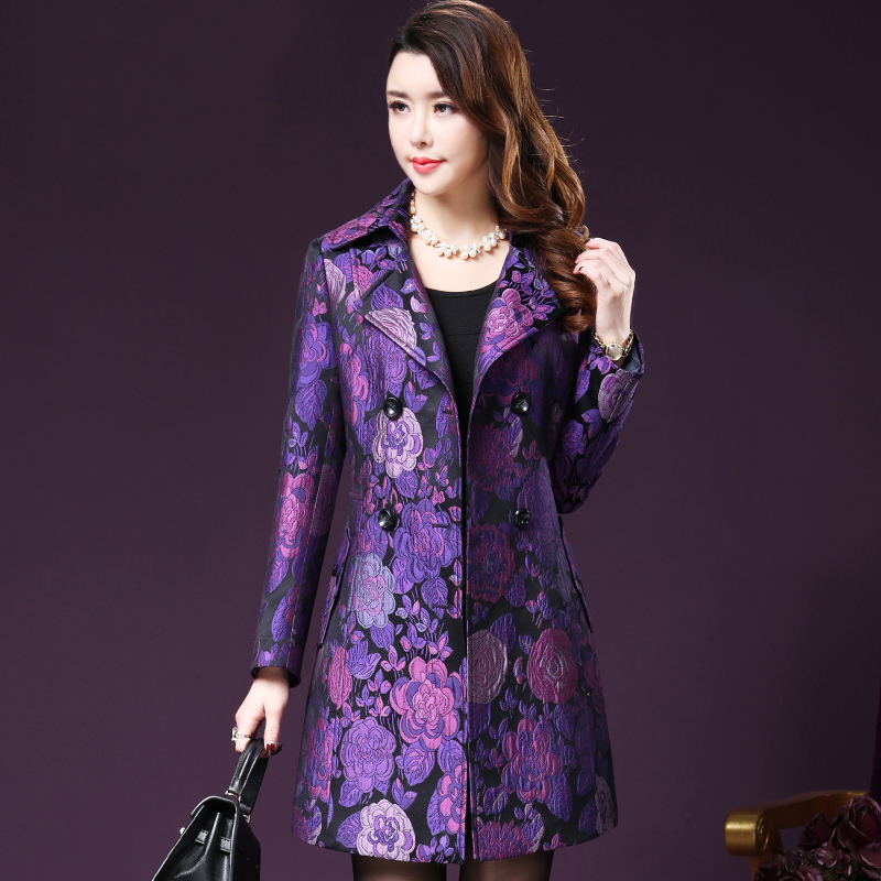 Autumn Vintage Lace Jacquard Embroidery Luxury Windbreaker Middle-aged Women's Double-breasted Long Trench Coat