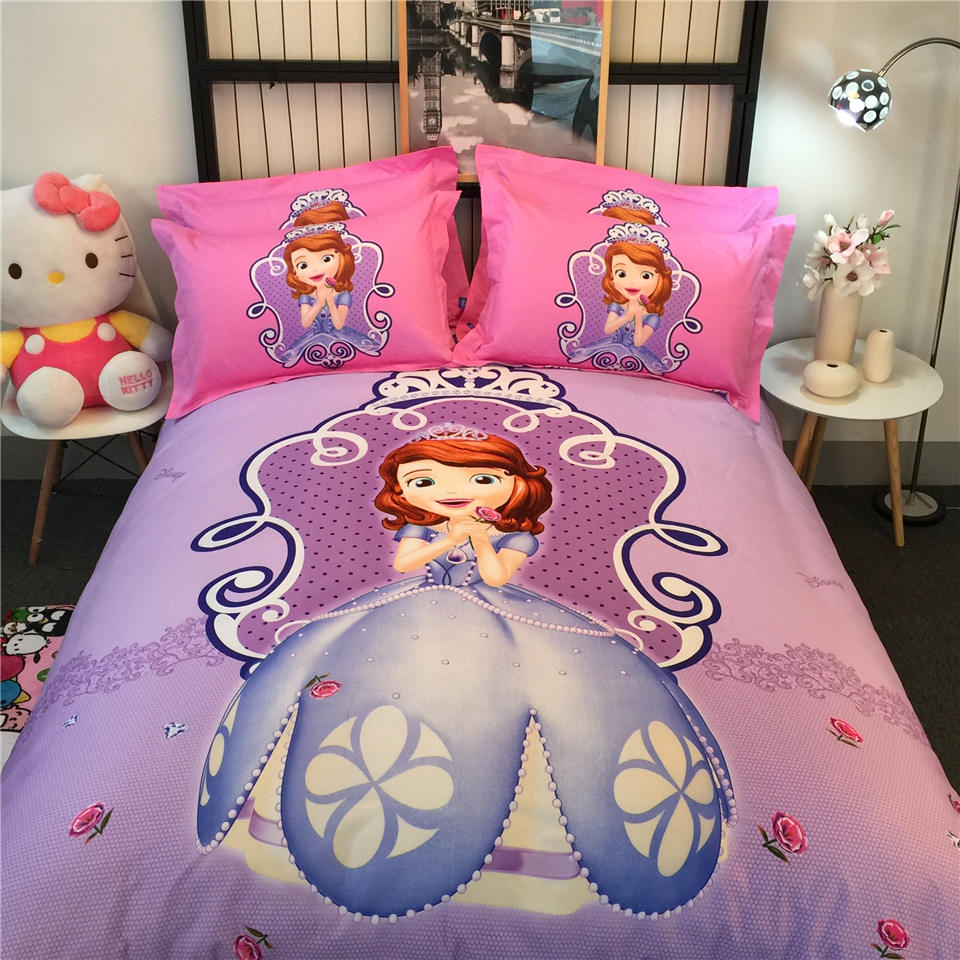 Disney Sofia Princess 3D Printed Bedding Bedspreads Bed Sets Single Twin Full Queen King Size Baby Girl's Children's Pink Purple