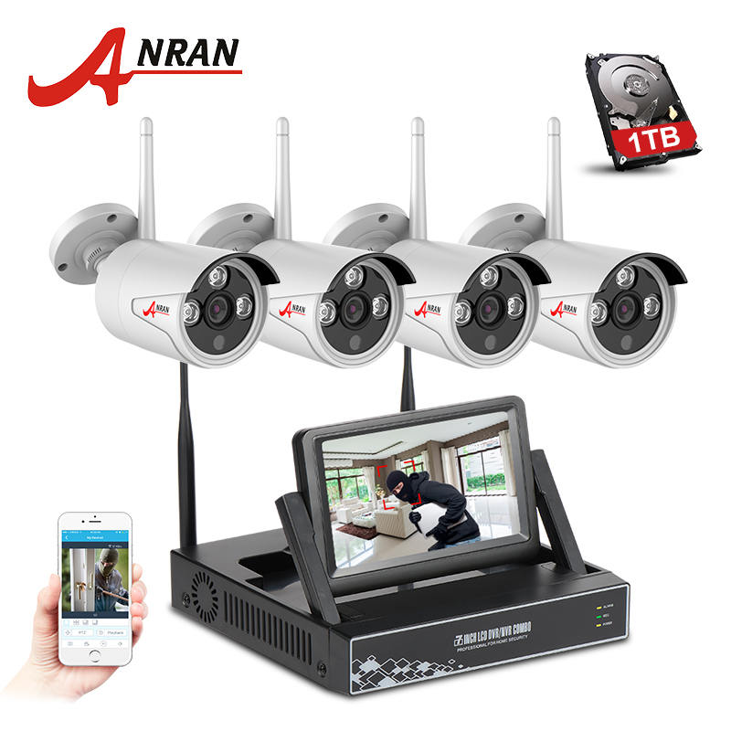 ANRAN New Listing Plug&Play 4CH Wireless CCTV System 7 LCD Screen NVR 1TB HDD P2P Cloud View 720P HD Outdoor IR WIFI IP Camera new listing plug and play 4ch wireless nvr kit 7 inch lcd screen 720p hd outdoor security wifi camera cctv system 1tb hdd