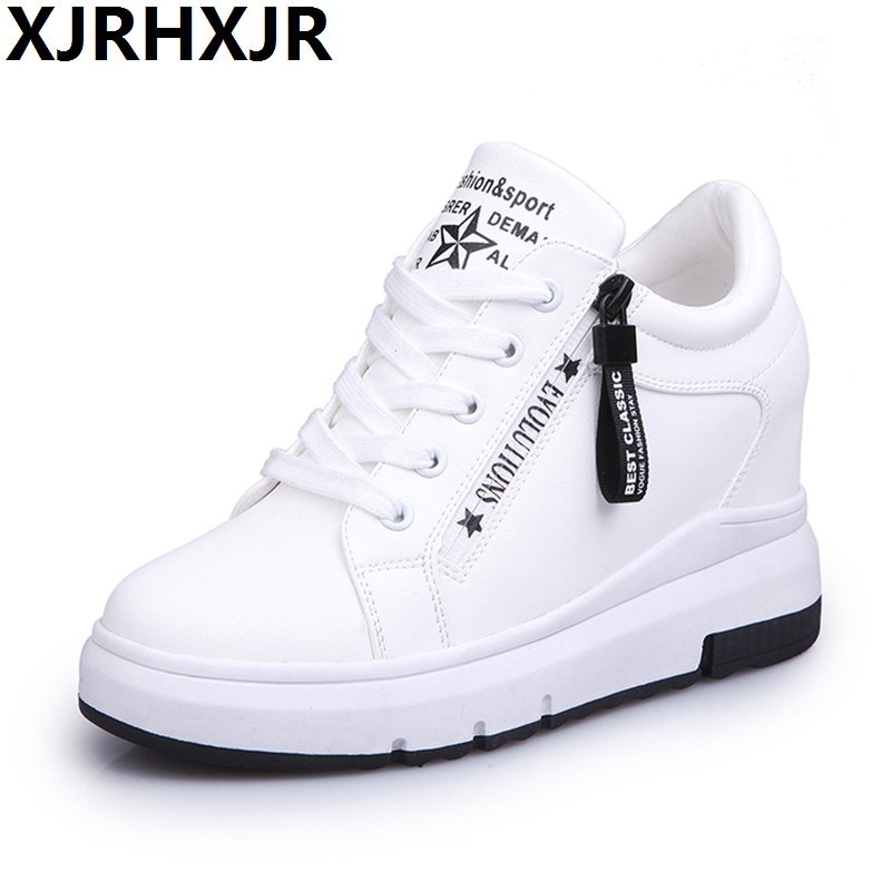 7cm Black White Women Pu Leather Shoes Woman Fashion Hidden Wedge Heel Lace Up Sport Casual Shoes Increasing Shoes Flats Heel