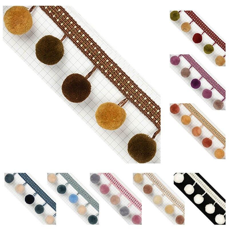 1-10 Yard Pom Pom Bobbles Trim Braid Fringe Ball Ribbon Edge Sewing Tassel Craft