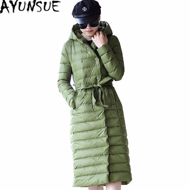Groene Lange Winterjas.Ayunsue Hoge Kwaliteit Vrouwen Winterjas Vrouwelijke Witte Eend
