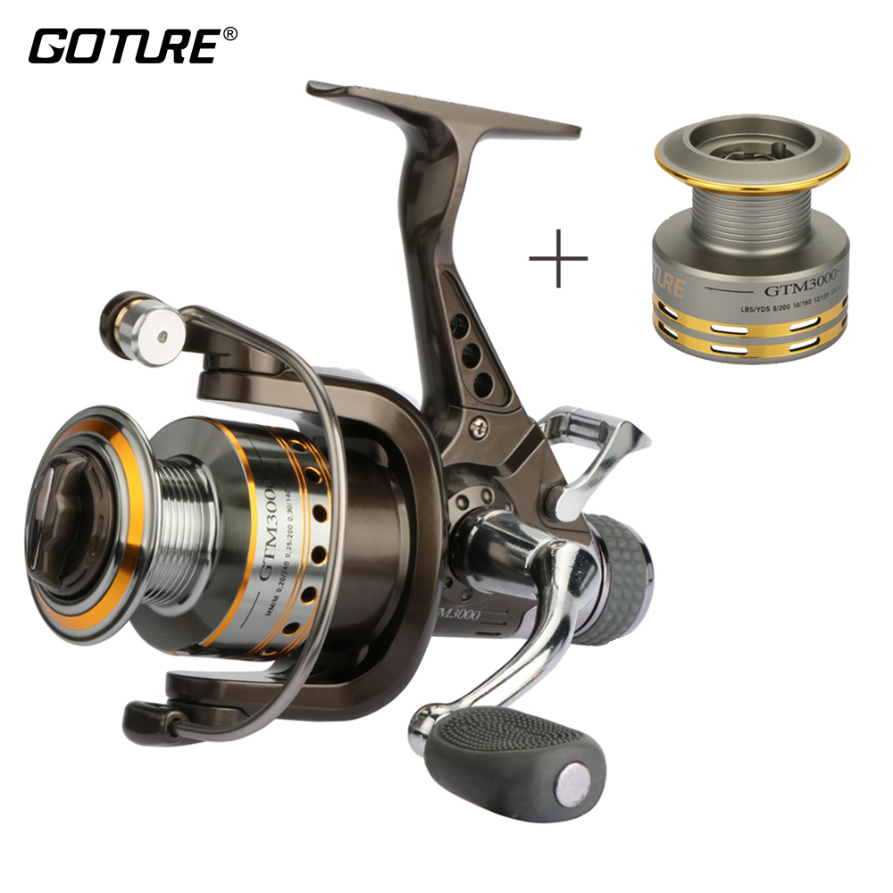 Goture GTM3000 Carp Fishing Reel Double Drag Spinning Reel Coil With Aluminum Spare Spool 8BB 5.0:1 Max Drag 6.5kg Sea Reels 1pc new aluminum alloy fishing reel water resistant carbon drag spinning reel larger spool max drag 20kg for sea fishing wheel