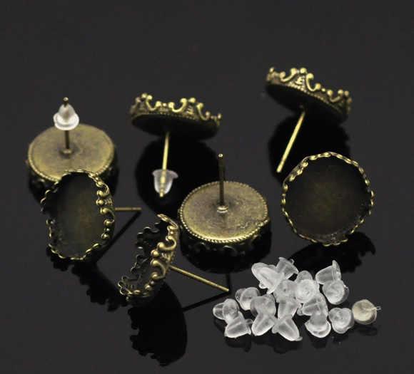"""Doreenperles boucles d'oreilles en alliage de Zinc résultats rond Antique Bronze Cabochon réglages (convient à 13.5mm) 16mm (5/8 """") x 15mm (5/8""""), 2 pièces"""