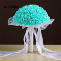 Crystals Turquoise mint Pink Red Rose Artificial Bridal Flowers Bride Bouquet Wedding Bouquet Silk Ribbon
