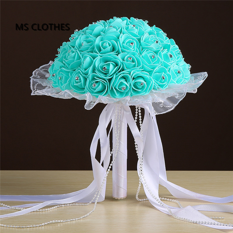 Crystals Turquoise mint Pink Red Rose Artificial Bridal Flowers Bride Bouquet font b Wedding b font