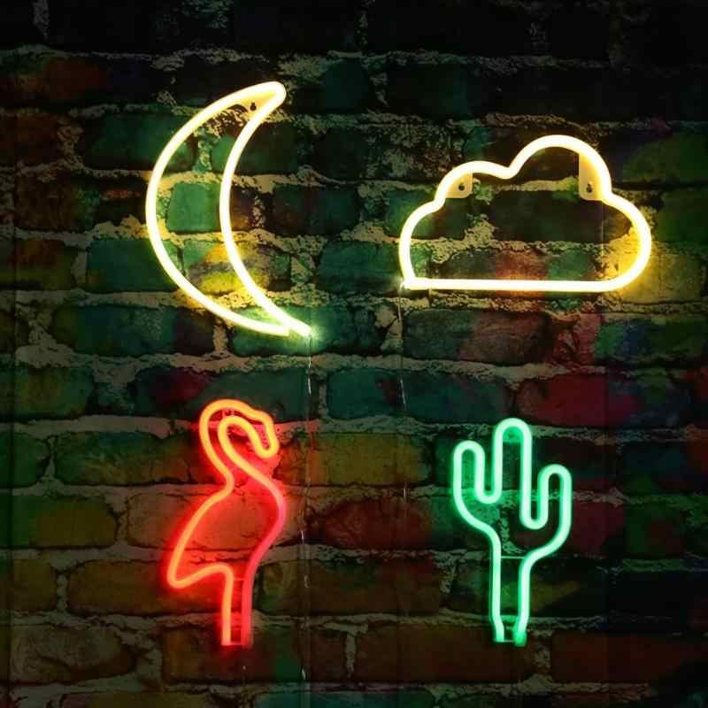 Креативная неоновая лампа с usb зарядкой ночник Кактус/луна/облако светодиодная