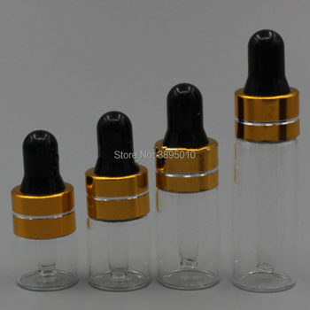 1/2/3/5ml Clear Glass Dropper Bottle , Transparent Small Vials With Pipette For Cosmetic Perfume Essential Oil Bottles F547