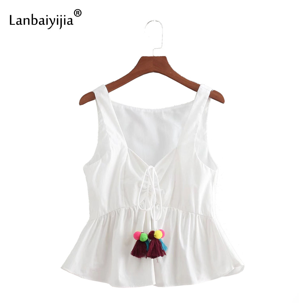 Lanbaiyijia Newest Women tank tops V-neck Sleeveless lace-up Pompoms Tassel decoration Casual Hot tops Women Summer t shirt