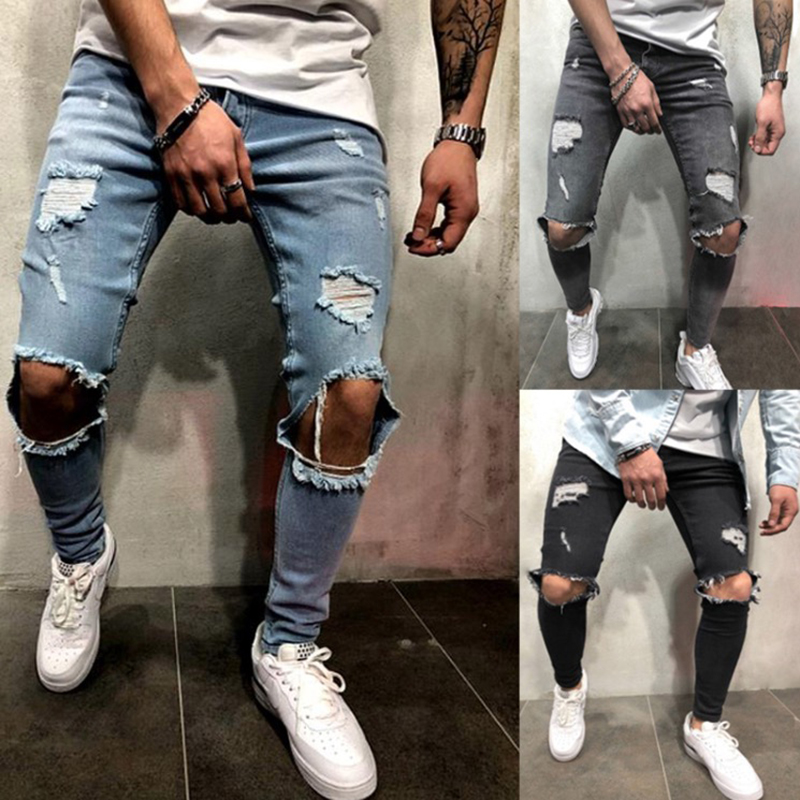 Men Denim Black Jeans Slim Ripped Hole Jeans Fashion Hip Hop Skinny Pencil Jeans For Men High Street Wear Stretch Jeans Homme