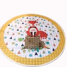 Forma redonda niños carpet suave mano de poliéster lavable cartoon fox imprimir alfombra de juego para niños salón de piso sala de estar felpudo