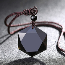 Natural Energy Stone Black Obsidian Pendant Six Stars Lucky Amulet Necklace Pendant Protect Your Safety Love For Men Women Gift natural obsidian stone carved maitreya buddha pendant necklace jewelry unisex men women lucky amulet pendant free beads chain