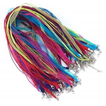 """DIY, fabricación de joyas, collar de cinta de Organza, cordones de correa, colorida cuerda de Voile, cierre de langosta, cadena de cordón de cera, 100 uds, Multicolor 18"""""""