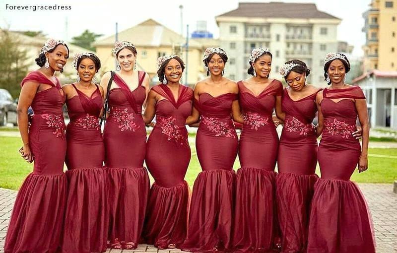 3922cfb68c97f Nigerian Mermaid Bridesmaid Dresses Burgundy Summer Country Garden ...