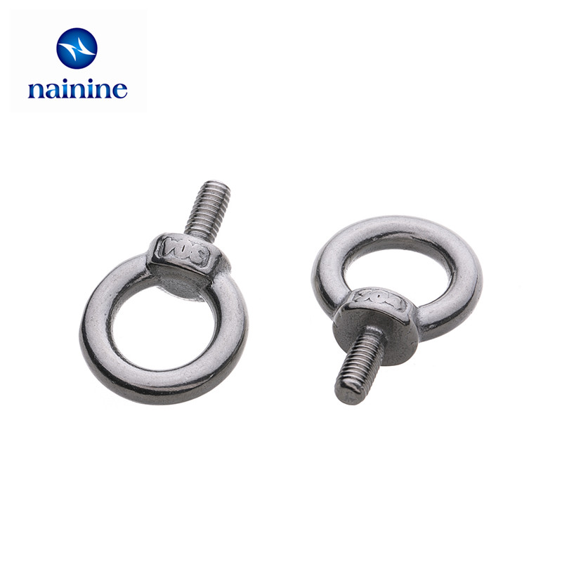 10Pcs M3 M4 M5 M6 M8 DIN580 Eye Bolt 304 Stainless Steel Marine Lifting Eye Screws Ring Loop Hole for Cable Rope Eyebolt HW011 10pcs din582 m3 m4 m5 m6 m8 m10 m24 304 stainless steel marine lifting eye nut ring nut thread hw108