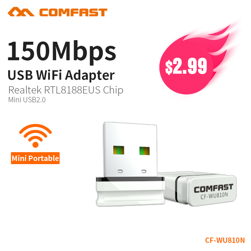 COMFAST Wifi Adapter 150mbps Mini Access Points Wireless Wifi Network Card Usb Antenna Dongle Windows XP 7 8 10 Mac OS CF-WU810N image