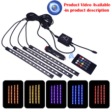 4Pc Car Auto Music Control RGB LED Strip 12LED 5050 SMD Voice Controller Flexible Light LED Tape Home Decoration Atmosphere Lamp